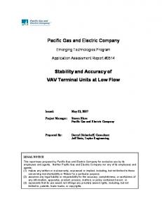 Pacific Gas and Electric Company. Stability and Accuracy of VAV Terminal Units at Low Flow