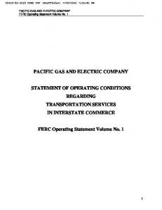 PACIFIC GAS AND ELECTRIC COMPANY STATEMENT OF OPERATING CONDITIONS REGARDING TRANSPORTATION SERVICES IN INTERSTATE COMMERCE
