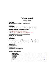 Package mitml. September 13, 2016