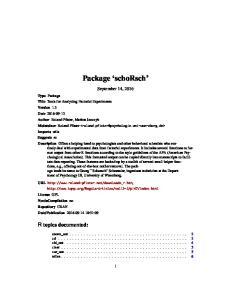 Package schorsch. September 14, 2016