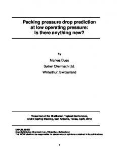 Packing pressure drop prediction at low operating pressure: Is there anything new?