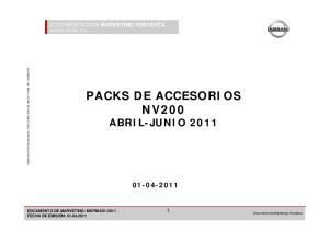 PACKS DE ACCESORIOS NV200 ABRIL-JUNIO 2011