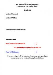 pad residential Agency Agreement and general information sheet Check List