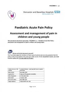 Paediatric Acute Pain Policy