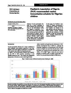Paediatric Association of Nigeria (PAN) recommended routine immunization schedule for Nigerian children