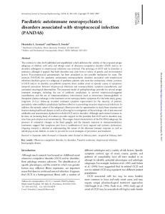 Paediatric autoimmune neuropsychiatric disorders associated with streptococcal infection (PANDAS)