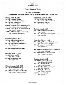 Page 2. April 26, Fourth Sunday of Easter