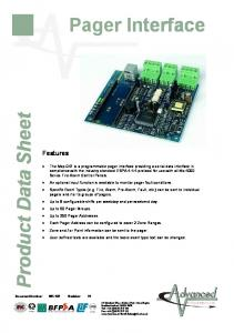 Pager Interface. Product Data Sheet. Features