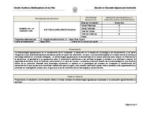 Página 1 de 7 PROGRAMA EDUCATIVO: MAESTRÍA EN DESARROLLO AGROPECUARIO SUSTENTABLE PROGRAMA DE ESTUDIO