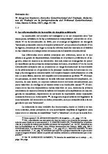 págs. 120 y sigs. 180 Vid. W. SANGUINETI RAYMOND, El derecho de estabilidad en el trabajo, cit.,