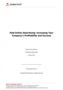 Paid Online Advertising: Increasing Your Company s Profitability and Success