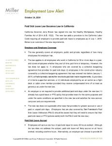 Paid Sick Leave Law Becomes Law in California