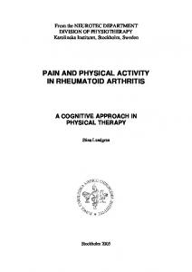 PAIN AND PHYSICAL ACTIVITY IN RHEUMATOID ARTHRITIS