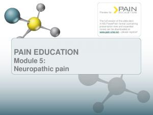 PAIN EDUCATION Module 5: Neuropathic pain