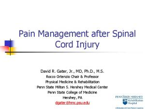 Pain Management after Spinal Cord Injury