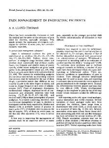 PAIN MANAGEMENT IN PAEDIATRIC PATIENTS