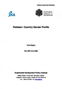Pakistan: Country Gender Profile. Final Report. Nov 2007-July Sustainable Development Policy Institute
