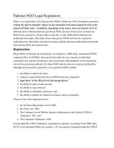 Pakistan NGO Legal Regulations