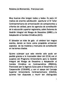 Palabras de Bienvenida. Francisco Lara