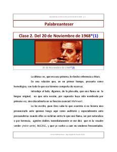 Palabreanteser. Clase 2. Del 20 de Noviembre de 1968*(1)