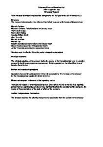Palerang Financial Services Ltd ABN Directors' Report