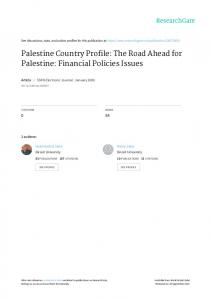 Palestine Country Profile: The Road Ahead for Palestine: Financial Policies Issues