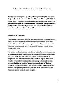 Palestinian Universities under Occupation