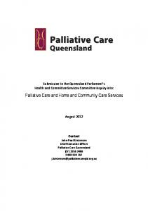 Palliative Care and Home and Community Care Services