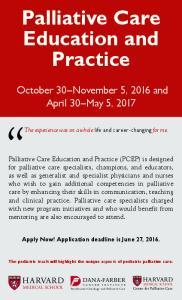 Palliative Care Education and Practice