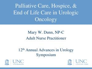 Palliative Care, Hospice, & End of Life Care in Urologic Oncology
