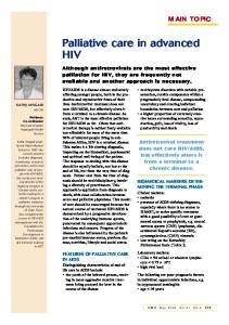 Palliative care in advanced HIV