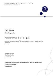 Palliative Care in the Hospital