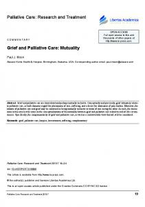 Palliative Care: Research and Treatment. Grief and Palliative Care: Mutuality. Paul J. Moon