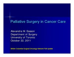 Palliative Surgery in Cancer Care