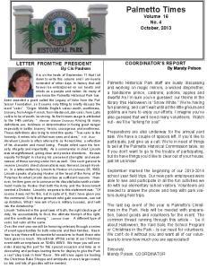 Palmetto Times Volume 16 No. 4 October, 2013