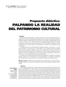 PALPANDO LA REALIDAD DEL PATRIMONIO CULTURAL