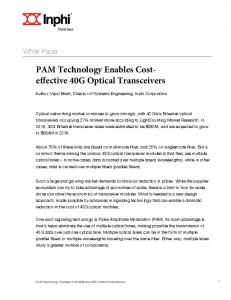 PAM Technology Enables Costeffective 40G Optical Transceivers