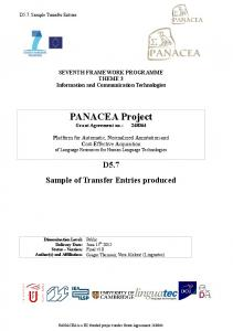 PANACEA Project Grant Agreement no.: