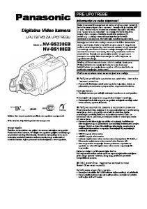 Panasonic. Digitalna Video kamera NV-GS180EB PRE UPOTREBE UPUTSTVO ZA UPOTREBU. Informacije za vašu sigurnost