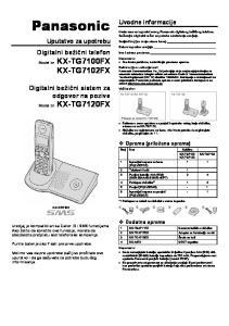 Panasonic KX-TG7102FX. Digitalni bežični telefon. Digitalni bežični sistem za odgovor na pozive. Uvodne informacije. Uputstvo za upotrebu