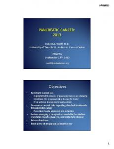 PANCREATIC CANCER: Objectives