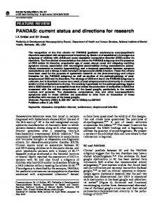 PANDAS: current status and directions for research