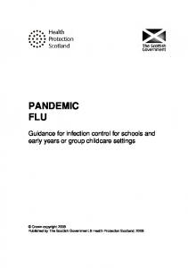 PANDEMIC FLU. Guidance for infection control for schools and early years or group childcare settings
