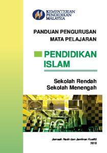 PANDUAN PENGURUSAN MATA PELAJARAN PENDIDIKAN ISLAM