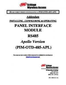 PANEL INTERFACE MODULE RS485 Apollo Version (PIM-OTD-485-APL)