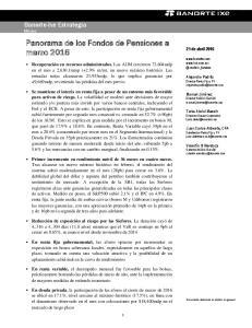 Panorama de los Fondos de Pensiones a marzo 2016