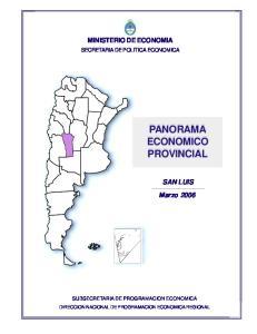 PANORAMA ECONOMICO PROVINCIAL