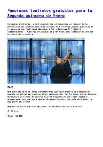 Panoramas teatrales gratuitos para la Segunda quincena de Enero