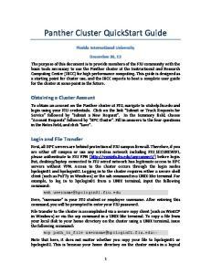 Panther Cluster QuickStart Guide