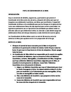 PAPEL DE COORDINADOR DE LA MISA